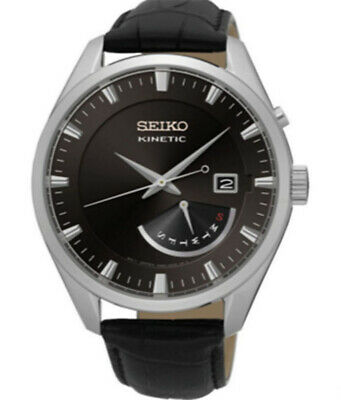 Seiko Kinetic SRN045P2 Black Dial Black Leather Band Men's Watch