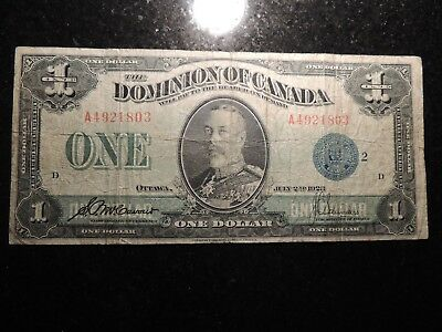 1923 DOMINION OF CANADA $1 ONE DOLLAR DC-25h BLUE SEAL GROUP 2 A 4921803
