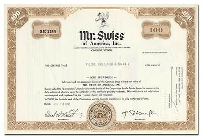 Mr. Swiss of America, Inc. Stock Certificate