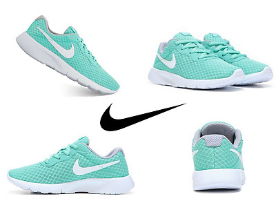 Nike Girls Tanjun Sneakers Size 4, 5, 6, 7 Youth Running Shoes Turquoise/White
