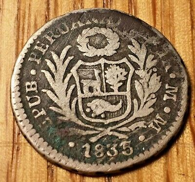 !VERY RARE! 1835 Peru Real silver 1835/3 REPORTED, Not Confirmed republic lima