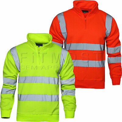 Hi Viz Vis High Visibility Quarter Zip SweatShirt Work Fleece Safety Jumper