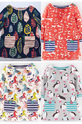 NEW IN!! 6 STYLES Mini Boden Girls Long Sleeve Hotchpotch Dresses 1-12 Yrs