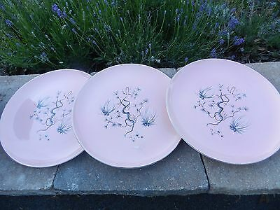 Vtg Dwarf Pine Pink Gray Taylor Smith Dinner Plate Lot Of 3 Plates 10 1/4""