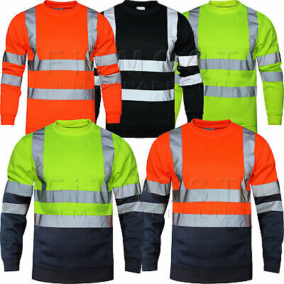 Hi Viz Vis High Visibility Crew Neck Sweatshirt Work Safety Fleece Jumper S-5XL