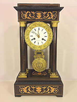 Ant French Empire Mantel Clock FC Inlaid Wood Case Runs Bell Strike Mid 1800s