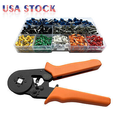 Crimp Tool Kit Ferrule Crimper Plier Wire Stripper + 800 Connector Wire Terminal