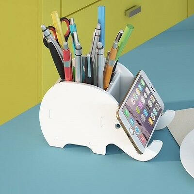 Cute Cartoon Elephant Office Pen Holder Whiting Storage Box & Cell Phone Holder