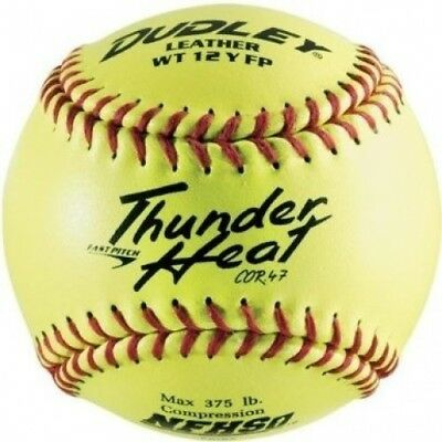 Dudley NFHS Thunder Heat Leather 30.5cm Yellow Fast Pitch Softball, .1.9kg, Red