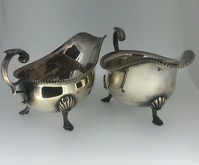 An Art-Deco Silver Plated Sauce Boats. Harrods, London, Circa 1930's.
