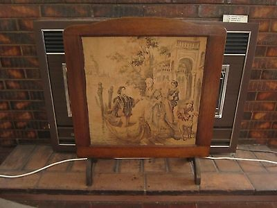 Antique Vintage Fire Place Screen With Venice Court Scene Tapestry