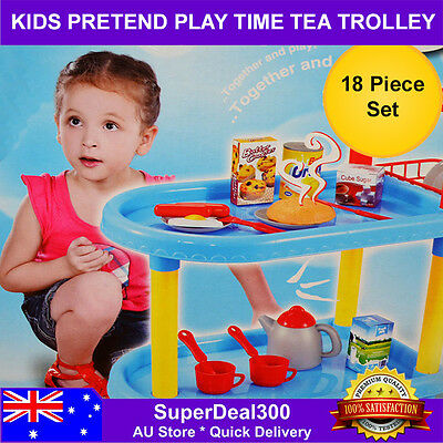 Kids Pretend Play Tea Time Food Trolley Cart - Includes 18 Pieces