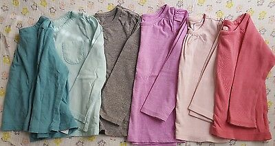 Lot of 6 long sleeve tops solid colors 18-24 months Tea Old Navy BabyGap