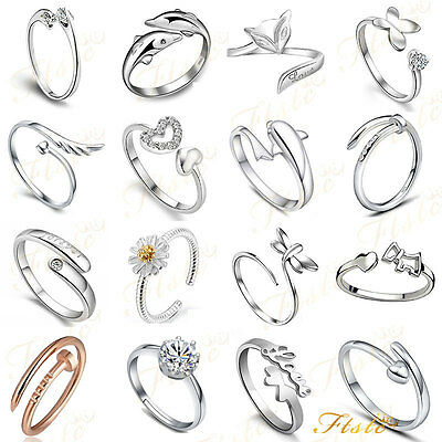 925 Sterling Silver Plated Adjustable Rings Thumb /finger Rings For Women