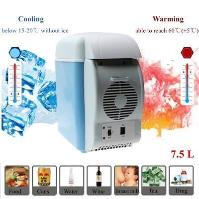AU 7.5L Car Truck Portable Thermoelectric Cooling Warm Milk Refrigerator Fridge