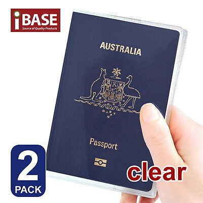 2x Passport Cover Transparent Protector Travel Clear Holder Organiser Wallet
