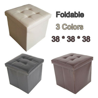Folding Ottoman Storage Blanket Box Footstool Stool Cube Pouf Faux Leather
