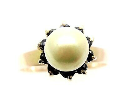 Outstanding Australian Sapphires & White Pearl Ladies 18ct Gold Vintage Ring