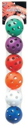 Unique 6-Pack Sports Practise Softballs (Assorted Colours). Free Shipping