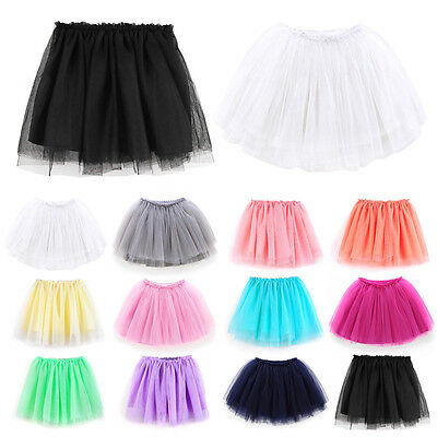 Baby Girls Kids Skirt 3 Layer Frilly Tutu Tulle Fancy Dress Dance Party