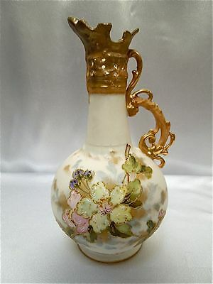 Antique Beautiful Floral Hand Painted Delicate Porcelain Vase Pitcher Austria