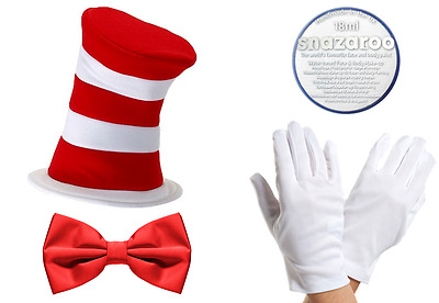 Cat Hat & White Gloves & Snazaroo White Face Paint & Red Bow Tie World Book Day