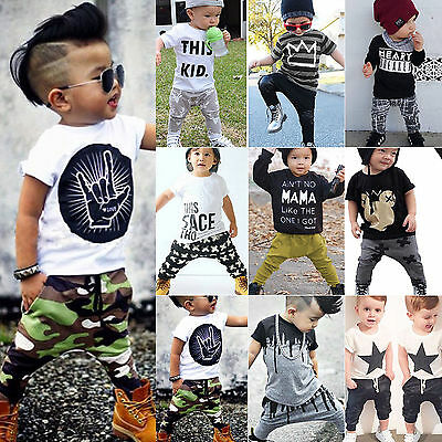 2pcs Newborn Toddler Infant Baby Boys Kid Clothes T-shirt Tops Pants Outfits Set