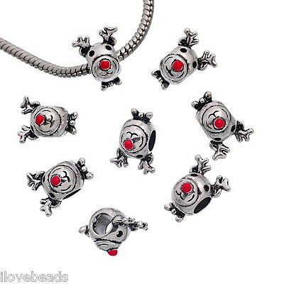 10PCs Charm Beads Christmas Elk Deer Fit Charm Bracelet Silver Tone 15x12mm