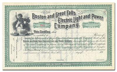 Boston and Great Falls Electric Light and Power Company Stock Certificate