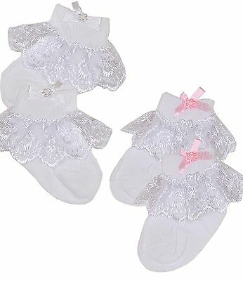 BabyPrem Premature Early Tiny Baby Girls Socks Frilly Lacy Top & Fancy Bows
