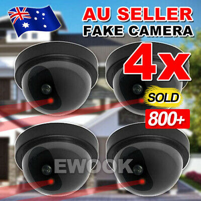 4xWireless Dummy Dome Fake Camera Home Surveillance Realistic Security Flash LED