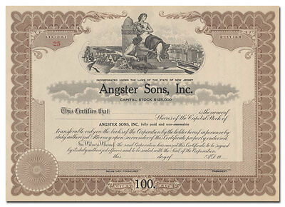 Angster Sons, Inc. Stock Certificate (Great Vignette!)