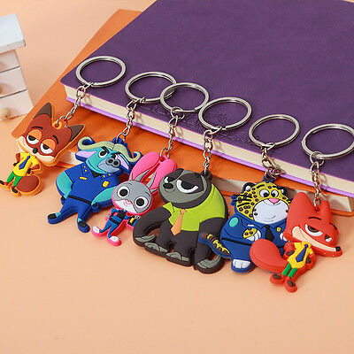 Cute Cartoon PVC ZOOTOPIA Judy Nick Pendants Keychain Keyring Gifts Rabbit Fox