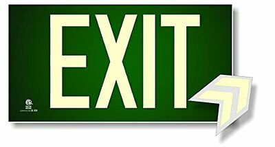 Photoluminescent Exit Sign Green - Code Approved UL 924/IBC 2012/NFPA 101 2012