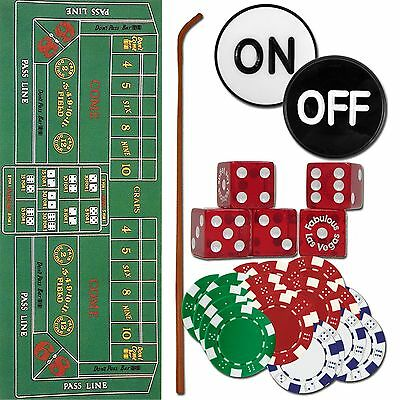 Craps Set Dice Stick Chips Layout Puck for Home Craps Games