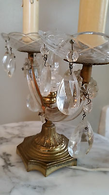 Antique French Candelabra Double Arm Glass Accents Bobeches Prisms Shabby  WOW