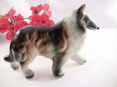 """Collie Dog Figurine Vintage 5.5 x 3-3/4"""" Multi-Colored Collectibles Home Decor"""