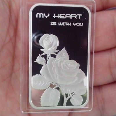 "1 Troy oz, .999 Fine Silver ""My Heart Is With You, (Rose)"" Design. Love NEW!"