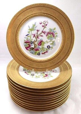 """Lot of 12 Heinich + Co. Germany Dinner Plates 10.75"""" Gold w/ Colorful Flowers"""