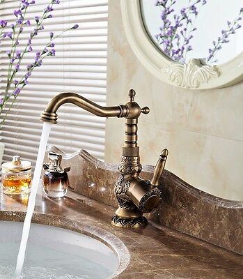 Antique Brass Bathroom Sink Faucet One Single Handle Bronze Kitchen Water Tap