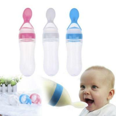 Baby Food Dispensing Feeding Spoon Silicone Squeeze Safe Supplement Rice New C
