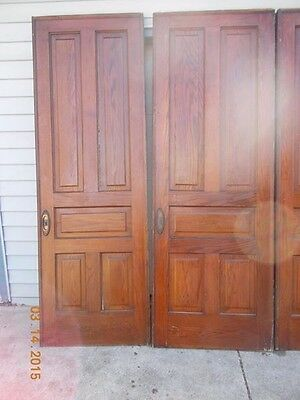 Architechual Salvage Two Antique Solid Oak Five Panel Pocket Doors.brass Handles