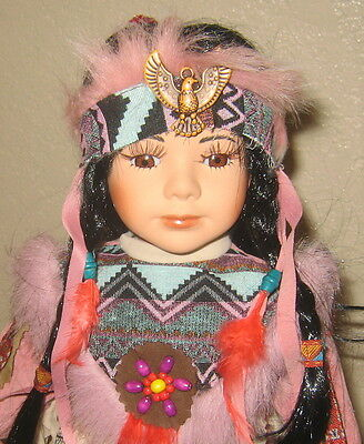 Beautiful Indian Maiden Porcelain Doll In Pink Outfit,long Braid,eagle Headband