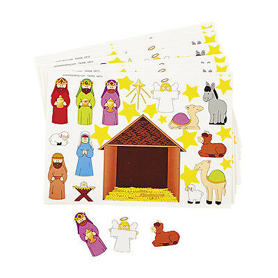 12 CHRISTMAS Party Favors MAKE A NATIVITY Scene Sticker Sheets VBS SUNDAY SCHOOL