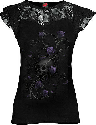 SPIRAL DIRECT NEW ENTWINED SKULL Lace Layered Cap Sleeve/Tops/Goth/Skull/Roses