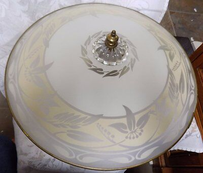 Antique Ceiling Lamp Fixture~Glass Shade~Cream/frosted Floral~17""