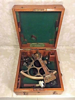 Vintage Huson Sextant in Nice Wood Case H Hughes & Son London Made for Kelvin Wi