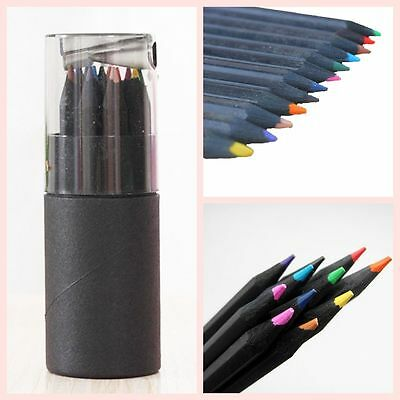 Smooth Writing Tool Pencils With Sharpener Drawing Black Wooden Colored