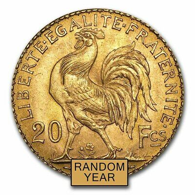 France Gold 20 Francs French Rooster Coin AU (Random)