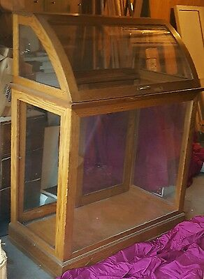 oak & glass display case with curved glass